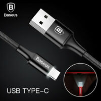 BASEUS LED Light USB-C Type C Fast Charging Data Sync Cable For All Hot Phone