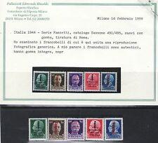 C15 - R.S.I. 1944 -.n.491 a 495 FASCETTI. Tiratura ROMA - PALAZZOLI Edmondo Rina