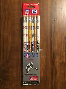 6 NFL NFC East pencils Giants -Cardinals -Eagles -Cowboys- Redskins-49ers NEW!