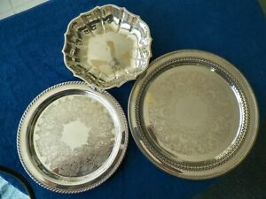 LOT OF VERY CLEAN 2 SILVERPLATED TRAYS & 1 BOWL