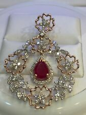 Pave 3.32 Cts Round Brilliant Cut Natural Diamonds Ruby Pendant In Fine 14K Gold