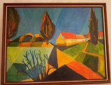 Huile sur panneau signée.Oil on wood panel signed Cubisme