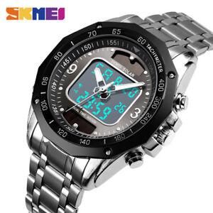 SKMEI Luxury Men Quartz Watch Dual Time Solar Power Waterproof Wristwatch 1493