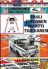 DECAL SIMCA 1000 RALLYE 2 PAULI TOIVONEN ARCTIC RALLY 1976 4th (07)