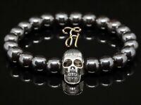 Hämatit / Hematit glanz 8mm Armband Perlenarmband silberfarbener Totenkopf Skull