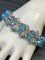 Baby Blue AB Crystal Beaded Blue Aurora Borealis  butterfly Stretch Bracelet