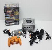 Nintendo GameCube Platinum Console Lot 2 Controllers 18 Games Mario Kart