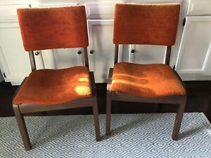 Pair Of Vintage Mid Century Modern Bentwood Orange Stacking Dining Side Chair