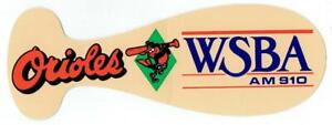 BALTIMORE ORIOLES ~ 1991 Bat Shaped Sticker by WSBA Radio