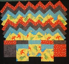 40 dino land toss 4 x 4 fabric squares quilt blocks/quilt kits