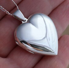 925 Sterling Silver Large Heart Locket Pendant UK Hallmarked Boxed