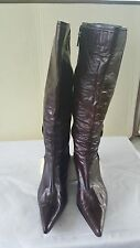 Tribeca by Kenneth Cole women tan red leather upper high boots heels size 10
