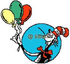 DR SEUSS THE CAT IN THE HAT WITH BALLOONS Cross Stitch PATTERN