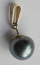 Anhänger Zuchtperle grau Öse Gold 333 Ø1 L2,2cm