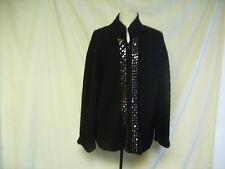 Ladies Cardigan - Jillian Jones, Black with sequins, 2XL, 100% Wool - 7073