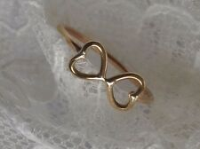 SOLID 9CT 9K YELLOW GOLD TWIN HEART RING HANDMADE SIZE J