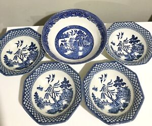 Willow Pattern Midwinter Salad Bowl+4 Royal Staffordshire Meakin Rectangle Bowls