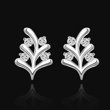 Branch Clear Cz Gemstone Stud Earrings Beautiful New 925 Sterling Silver Plated