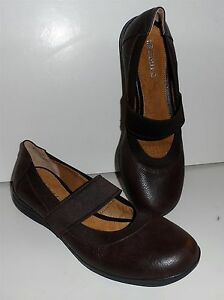 MICHELLE D Mary Jane Hershey Brown Leather Slip On & Elasticized SHOES 8.5 DINA