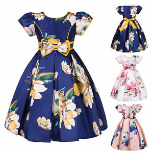 Little Flower Girls Floral Print Dresses Princess Satin Birthday Pageant Gown