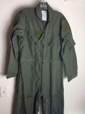 MILITARY FLIGHT SUIT FLYERS COVERALLS SAGE GREEN SUMMER FLAME RESIS SIZE: 42R
