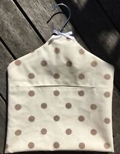 New Clarke & Clarke Dotty Natural Oil Cloth Peg Bag. Waterproof.