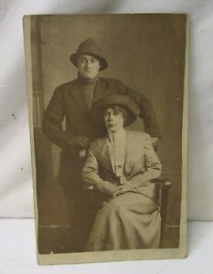 Antique Divided Back Era ~ Real Photo Post Card ~ Probably Husband & Wife