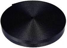 1 Inch 2 Panel Black Lite Weight Nylon Webbing Closeout, 10 Yards
