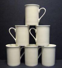 Set of 6 White Panama Shape Fine Bone China Mug Cups Beakers 10 floz