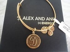 Alex and Ani Initial D Charm Bangle Bracelet  Russian Gold New W/Tag Card & Box