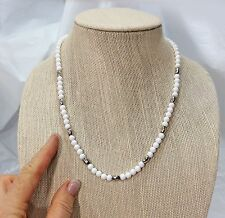 Vintage White and Silver Bead Necklace