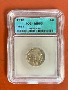 1913 Type 1 Buffalo Nickel ICG MS63