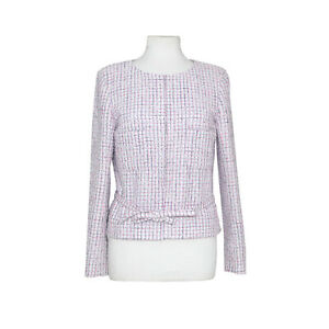 Chanel White/Pink Silver Check Tweed Peplum Crop Jacket with Belt size 42