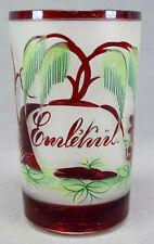 Bohemian Ruby Flashed & Enameled Man & Armorial Large Glass Tumbler C. 1850-1875