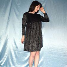 Babydoll Velours Robe Gothique Noir * S 38 * Doux Robe De Cocktail * robe de fete