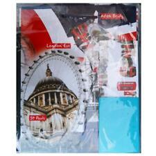 London Gift Bag Set, Gift Wrap & Tissue Paper Red Bus, Big Ben, London Eye,