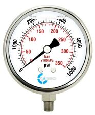 "4"" Pressure Gauge, Stainless Steel Case, Liquid Filled, Lower Mnt 5000 PSI"