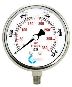 "4"" Pressure Gauge, Stainless Steel Case, Liquid Filled, Lower Mnt 5000 PSI"