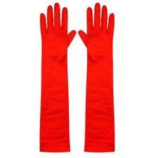Red Long Elbow Masquerade 1920s Burlesque Jersey Velour Fancy Dress Gloves