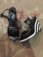 New Without Box Stuart Weitzman Black And White Wedges Sandals Size 8.5