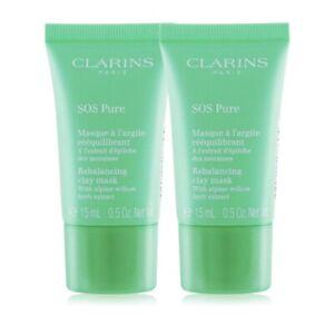 New Clarins SOS Pure Rebalancing Clay Mask 15ml*2 = 30ml Travel Size No Box
