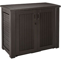 Rubbermaid Weather Resistant Resin Chic Outdoor Patio Storage Cabinet, Black Oak