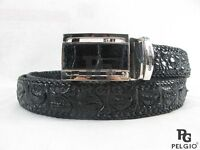 PELGIO Genuine Black Crocodile Belt Handmade Alligator Backbone Skin Leather