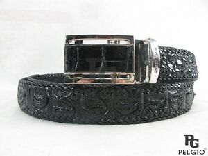 PELGIO Genuine Black Crocodile Belt Handmade Alligator Backbone Skin Leather
