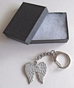 F) KEY-RING PEWTER ANGELS WINGS SPIRITUAL PROTECT AND GUIDE A PERSON OR GROUP