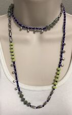 Premier Designs Jewelry IT'S ELECTRIC Necklace 20642 Silver Blue Neon Yellow Box