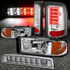 CHROME HOUSING DRL HEADLIGHT+CLEAR LED TAIL LIGHT+3RD BRAKE FOR 94-02 DODGE RAM