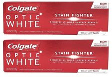 Lot of 2 Colgate Optic White Stain Fighter Clean Mint Toothpaste 4.2oz Free Ship