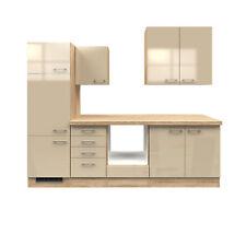 Einbauküche ohne Elektrogeräte Küchenzeile Küchenblock 270 creme beige glänzend