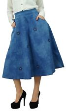 Bimba Women's Elastic Waist Flared Denim Skirt With Pockets Designer Patchwork B